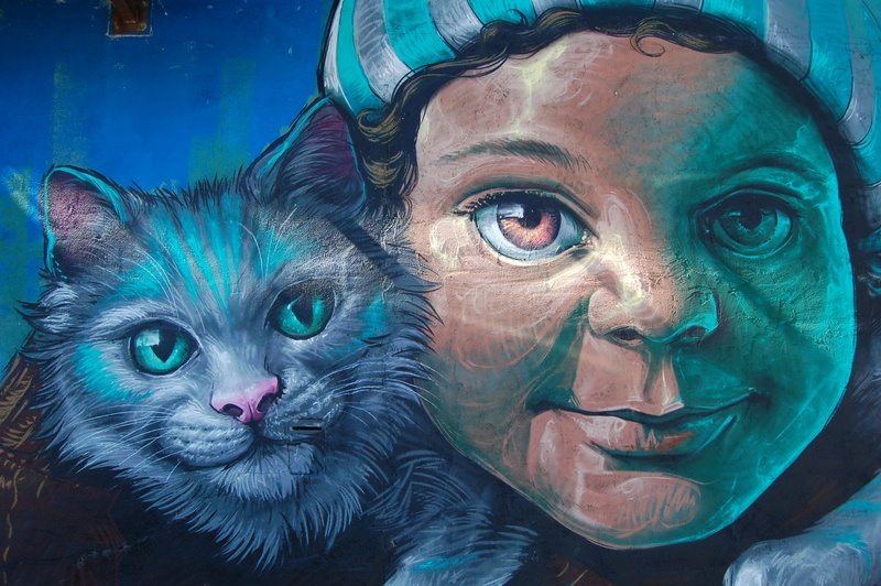 Girl And Cat Painting