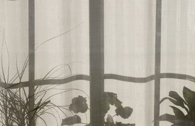 Gray And White Floral Curtain