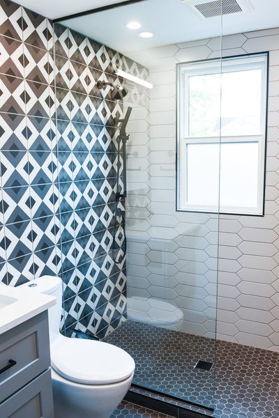 Gray And White Tiled Shower