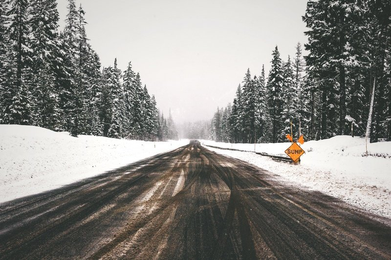 Gray Concrete Road Between Snow Covered Pine Trees
