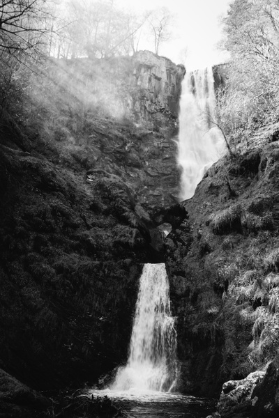 Gray Scale Photography of Waterfall