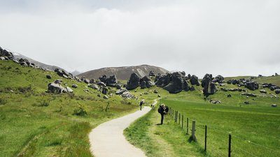 Green Grass And Boulders Landscape