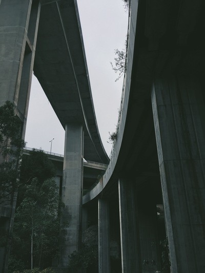 Grey Scale And Low Angle of Grey Concrete Bridge