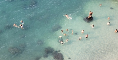 Group of People Swimming in Water