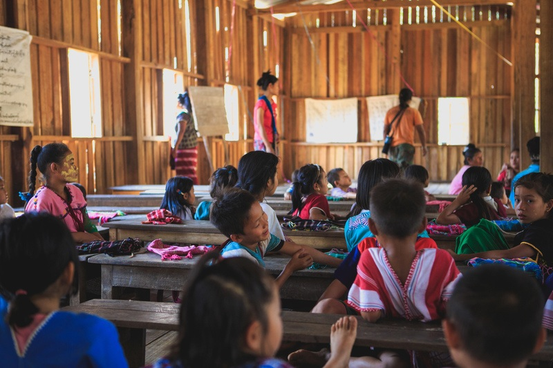 Group of Toddlers on the School with Teacher Teaching