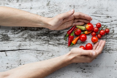 Hands and Rustic Vegetables