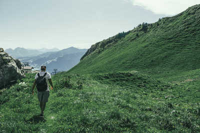 Hiking Green Hills of the Swiss Alps