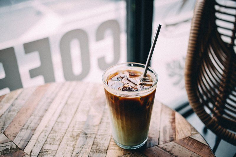 Iced Latte At Coffee Shop Window