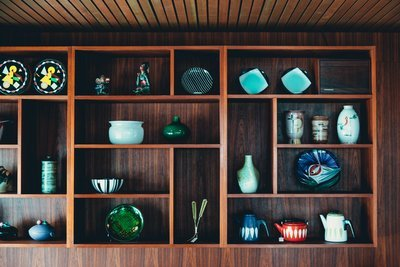 Interior Decor Shelving With Ceramic Art