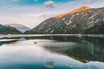 Landscape Photography of Mountain Near Water