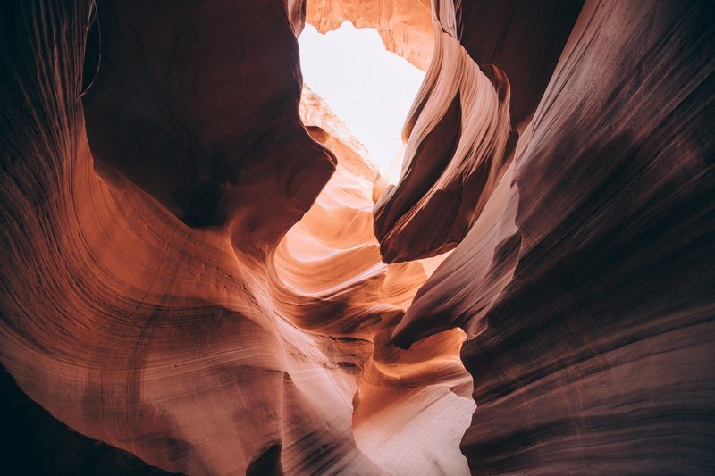 Light In Curvy Edges Of Antelope Canyon