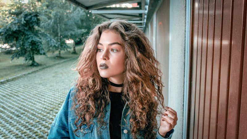 Long Curly Hair And Dark Lipstick