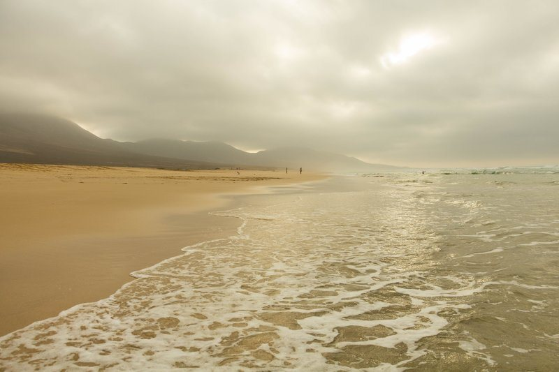 Low Clouds Along Sandy Beach