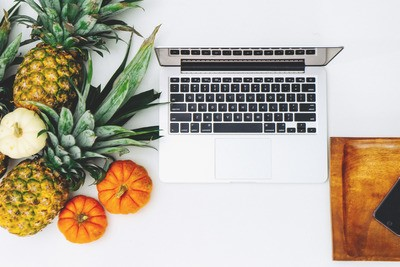 Macbook Pro And Assorted Fruits Flat Lay