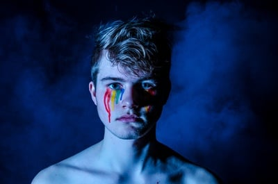 Man Crying with Colored Tears