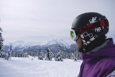 Man Wearing Black Helmet And Snow Goggles