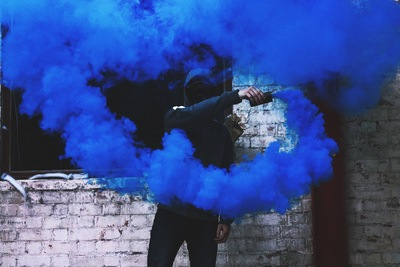 Man with Blue Flare