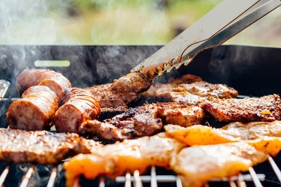 Meat on BBQ