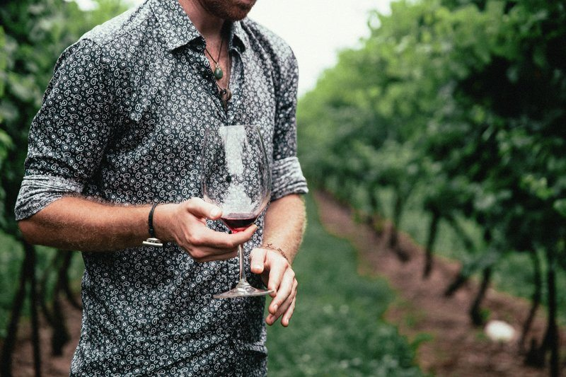 Men's Fashion Close Up Patterned Shirt Red Wine