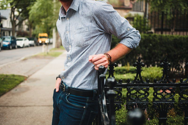 Men's Fashion Close Up Shirt Tucked In Leaning