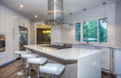 Modern White Tiled Kitchen