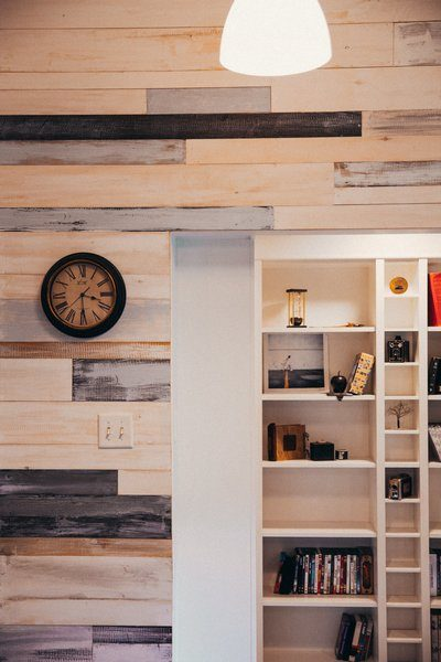 Modern Wood Panelled Wall And Shelving Interior