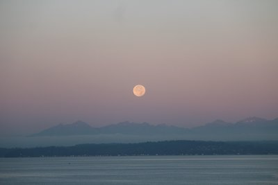 Moonrise Over Lake And Mountains