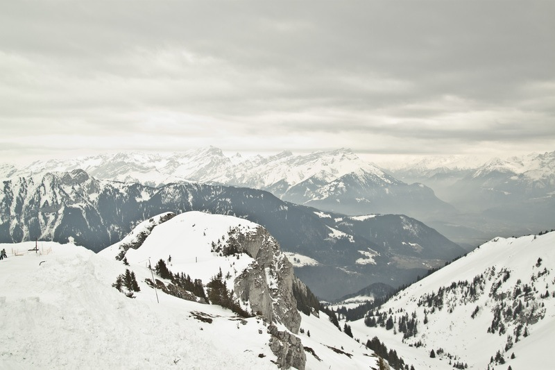 Mountain Cover with Snow Under Grey Sky