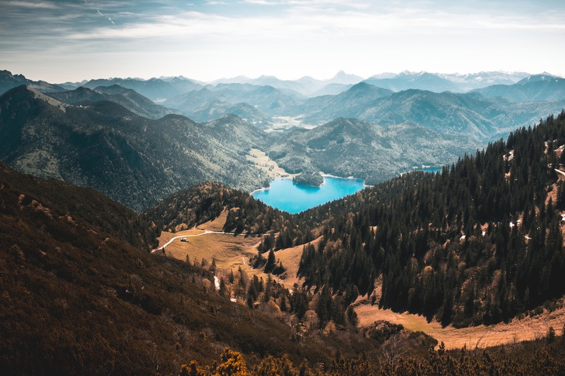 Mountains, River, Forest and Blue Lake