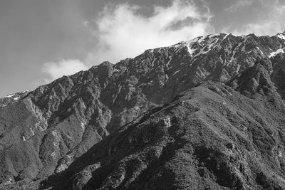 Mountainside In Black And White