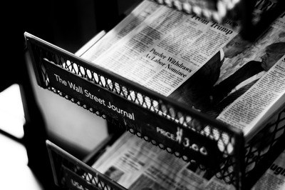 Newspapers on the Wall Street Journal Rack