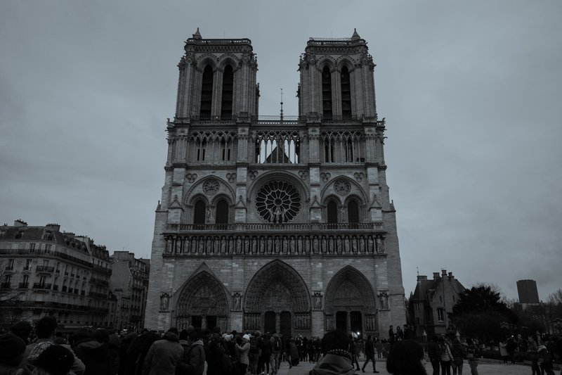 Notre Dame In Black And White