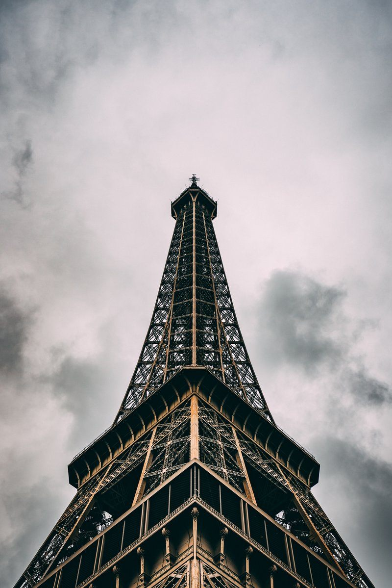 Paris France Eiffel Tower Under Clouds