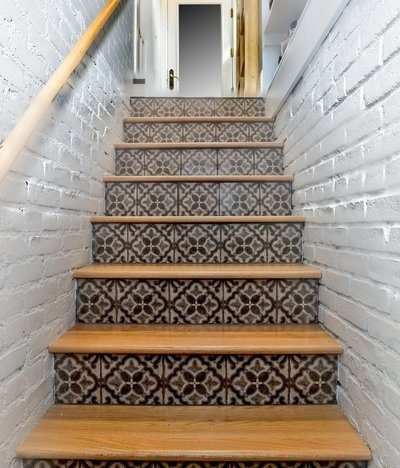 Patterned Tiles On Stairs