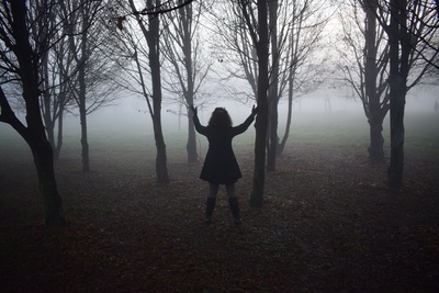 Person Standing Beside Black Trees