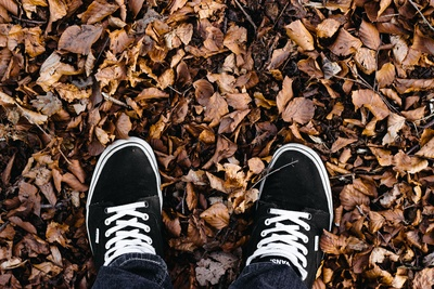 Person Wearing Sneakers Standing on Ground with Dried Leaves