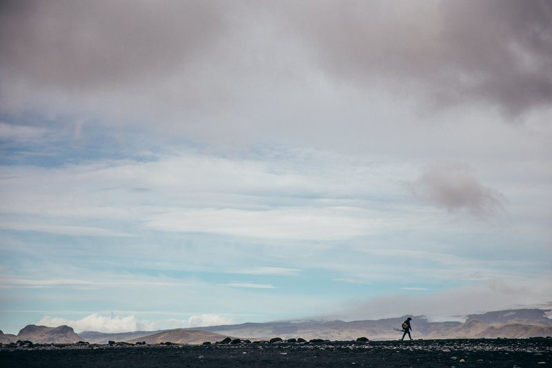 Photographer Hiking Iceland Flats