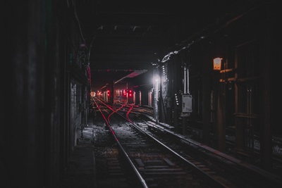Photography of Railroad at Nighttime