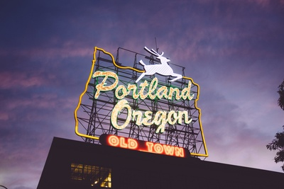 Portland Oregon Old Town Neon Signage at Night Time