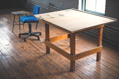 Rectangular Brown Wooden Desk