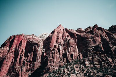 Red Sandstone Peaks In Canyon