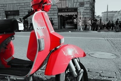 Red Vespa in Rome