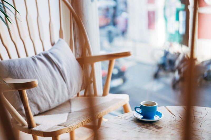 Relaxing Seat With Cup Of Espresso