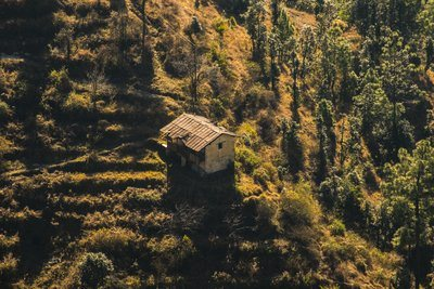 Rustic Cabin On The Morning Hillside