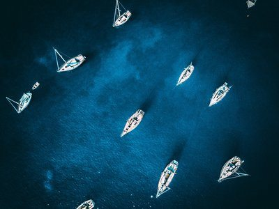 Sailboats In Harbor From Above