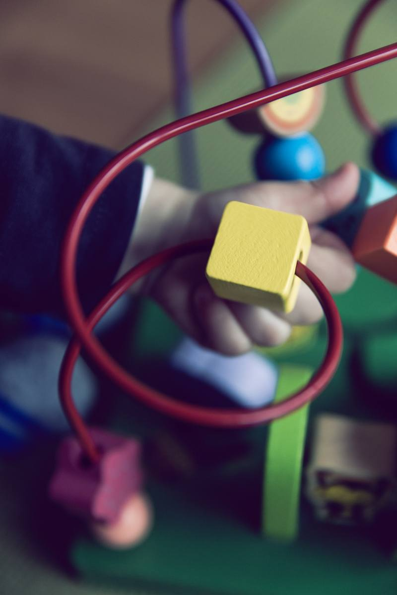 Selective Focus  Baby Playing Activity Cube