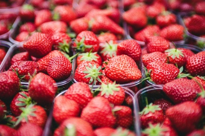 Selective Focus  Strawberries in Clear Plastic Containers