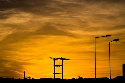 Silhouette of Communication Tower at Sunset