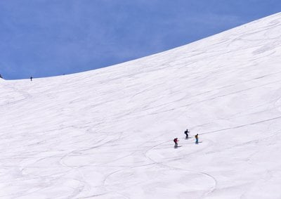 Skiers Making Their Way Across A Slope