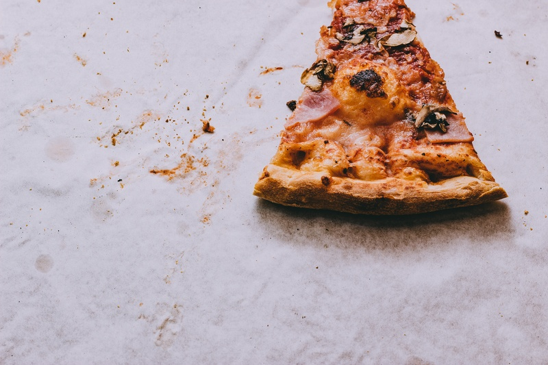 Slice Pizza with Ham Toppings